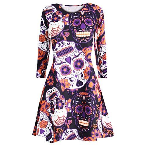 VECDY Damen Kleid, Herbst Frauen Langarm Skull Fledermaus Halloween Abend Prom Kostüm Swing Kleid Karneval Party Kleid Kürbis Totenkopf Print Kleid