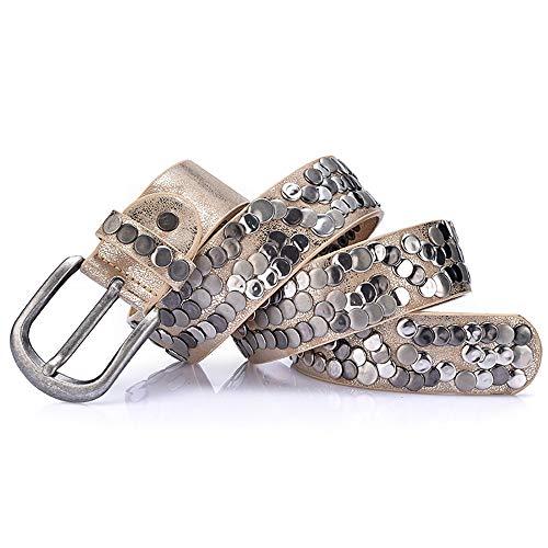WiaLx Cinturón de Parche de Remache Pantalones for Hombres y...
