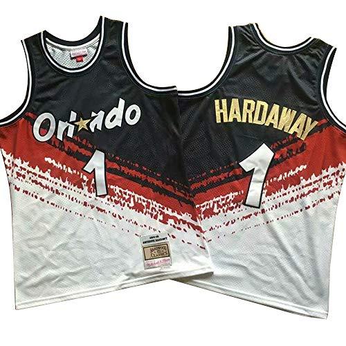 BALL-WHJ Herren Trikots - Orlando Magic 1# Hardaway Fan Trikot Klassisch Bestickte Ärmellose Westen Sommer Basketball T-Shirt,M:170~175cm/65~75kg
