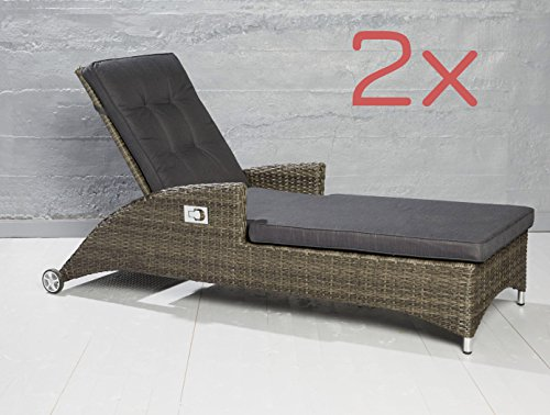 2er set poly rattan sonnenliege gartenliege relaxliege gartenm bel verstellbar g nstig kaufen. Black Bedroom Furniture Sets. Home Design Ideas