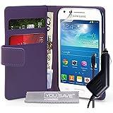 Yousave Accessories Coque Samsung Galaxy Core Plus Etui Violet PU Cuir Portefeuille Housse Avec Chargeur De Voiture