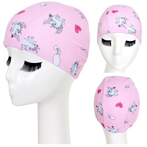 misslight Unicorn Silicone Kids Swim Hair Care Protección para los oídos Gorro de natación Hat (Pink)