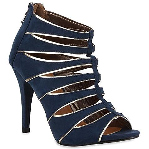 Damen Sandaletten Plateau Sandaletten Stiletto Cut-Outs Party High Heels Lack Party leder-Optik Schuhe 111036 Dunkelblau Gold 37 | Flandell®