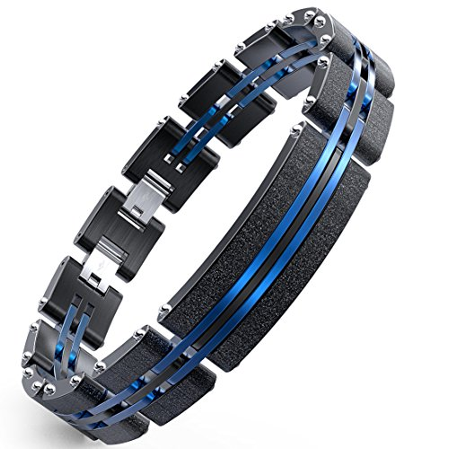 Herren Armbänder Edelstahl Blaue Schwarze Justierbare Armband 19-23 cm, Armbänder für Männer mit Mode Sandstrahlen ((mit Geschenk Kasten)