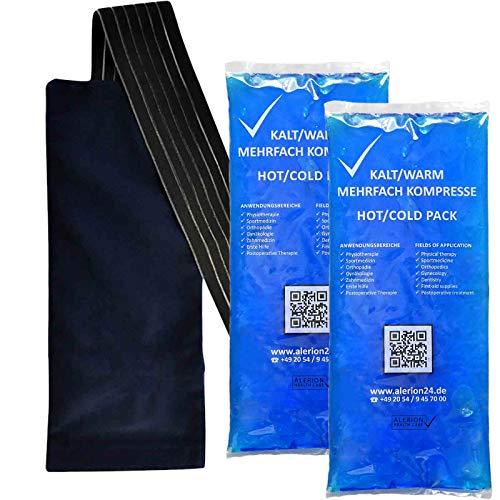 2 Stück 12 cm x 29 cm + 1 Premium Vlieshülle Kalt-Warm Kompresse Mehrfach kompresse Wiederverwendbar Coolpack Mikrowellen geeignet
