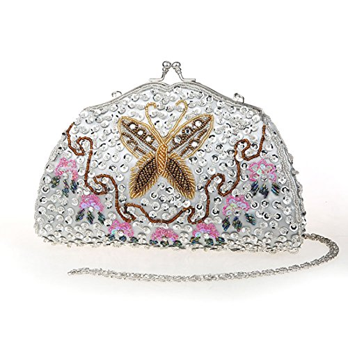 KAXIDY Borse Pochette da Sera Floreale Paillettes Borse Tracolla Pochette da Cerimonia Argento