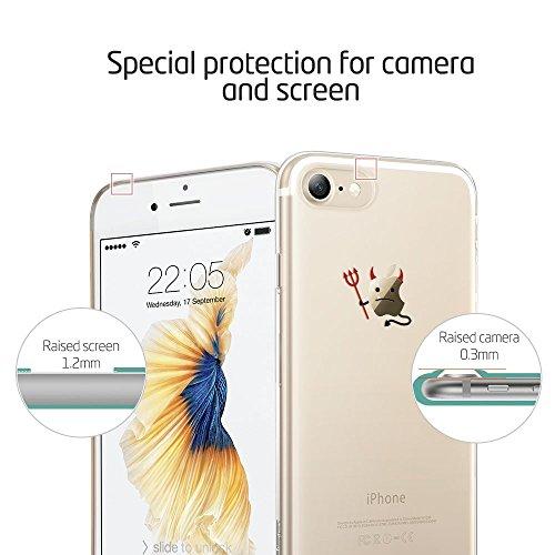 iPhone 7 Hülle (4,7 Zoll), ESR® Mania Series Transparent Weiche Silikon Malerei Muster Hülle [Crystal Klar] TPU Bumper Case Blühende Blumen Design Schutzhülle für iPhone 7. (Balloon) Schneemann