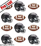 PRE-CUT AMERICAN FOOTBALL BALL / HELMET EDIBLE RICE / WAFER PAPER CUP CAKE TOPPERS PARTY BIRTHDAY DECORATION by Anglesit Sport