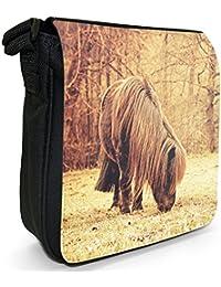 Pony & Shetland Pony Small Black Canvas Shoulder Bag - Size Small