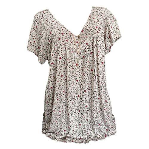 YEBIRAL Damen Bluse, Oversize Kurzarm T-Shirt Elegante Lose V-Ausschnitt Blumendruckt Blusen Oberteil Casual Tunika Tops T-Shirt Große Größen(EUR-36/CN-M,Weiß) -