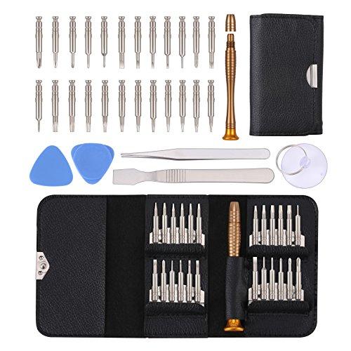 Reparatur Öffnungs Werkzeug Kit, KWOKWEI 30 in 1 Reparatur Werkzeug Set Tool Kit mit 24 Bits Magnetische Schraubendreher, Mini Schraubendreher Set aus S2 Material für Apple iphone 8 7 Plus 6S 5s 5c 4s -