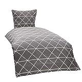 myHomery Bettwäsche 2-teilig Muster modern - Design Bettbezug & Kissenbezug mit Reißverschluss - Bettwäsche-Set 100% Baumwolle - Triangle - Grau | Bettdecke 135x200 cm & Kopfkissen 80x80 cm