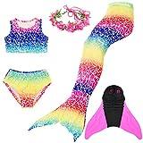 Superstar88 Mädchen Cosplay Kostüm Badebekleidung Meerjungfrau Shell Badeanzug 3pcs Bikini Sets mit Einer Flosse und Einer Kränze Tolle Geschenksidee ! (150, Bunt)