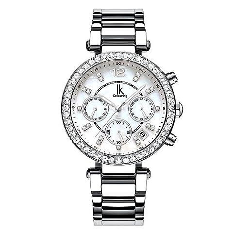Ik Damen Silber Quarz Armbanduhr mit Datum Metall Gurt Mutter von Pearl Zifferblatt Light Blue Face 24Stunden Timer Funktion Künstliche Diamond Inlaid