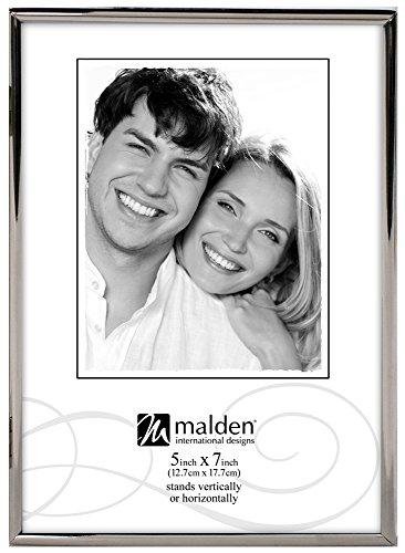Internationale Silverplate (Malden International Designs Simplicity Bright Metal Bilderrahmen, 5x 7, Silber)