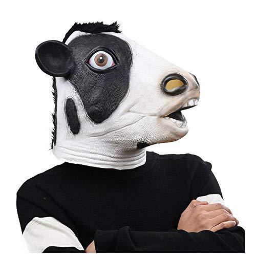 YaPin Exquisite Neuheit Kuh Maske Halloween Kostüm Party Latex Tiermaske Milch Schwarz und Weiß (Milch Kuh Kostüm)