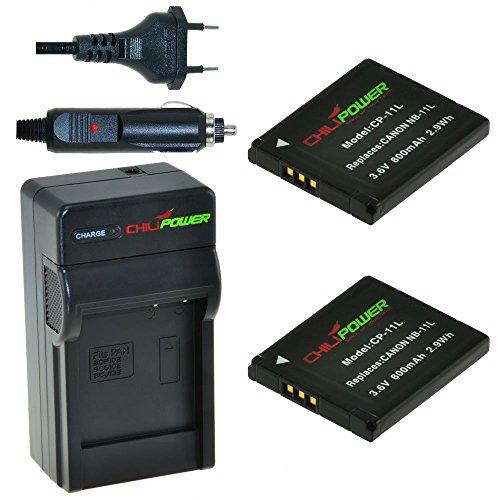 Chili Power NB-11L Kit: 2X batteria + caricabatteria per Canon PowerShot A2300IS, A2400IS, A2500, A2600, A3400IS, A3500IS, A4000IS, ELPH 110HS, ELPH 115HS, ELPH 130HS, ELPH 320HS, ELPH 340HS