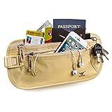 Aomay - Cintura portasoldi blocca-RFID/portafoglio da viaggio con 6 scomparti per carte e 2 portadocumenti, impermeabile, sicuro, Beige
