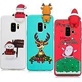 YKTO Hülle Samsung Galaxy S9 Plus 2018 6.2 Zoll 3D Weihnachten Handyhülle [3 Stück] Stoßfest Weich Silikon Schutzhülle Weihnachten Motiv Handytasche für SamsungS9