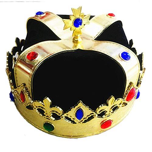 Supervox Royal Jeweled King 's Crown Hat Kostüm Dress Up Set Party Cosplay Zubehör für Kinder Erwachsene schwarz