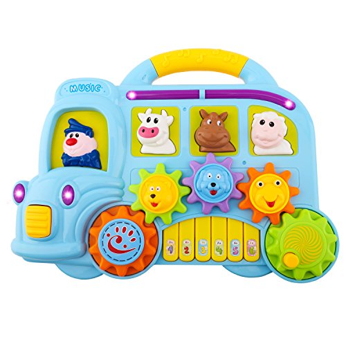 Zooawa Musical Piano Toy, Car Music Fun Animal Electronic Keyboard with Lights and Sounds, Educational and Learning Toy for Kids and Toddlers - Colorful