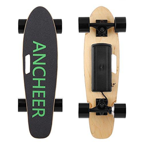 Ancheer Skateboard Electrique Mini Planche à Roulettes avec Télécommande et Système de Démarrage de Poussée vitesse 10-20km/h (2 vitesses) pour Enfants/Adolescents/Adultes