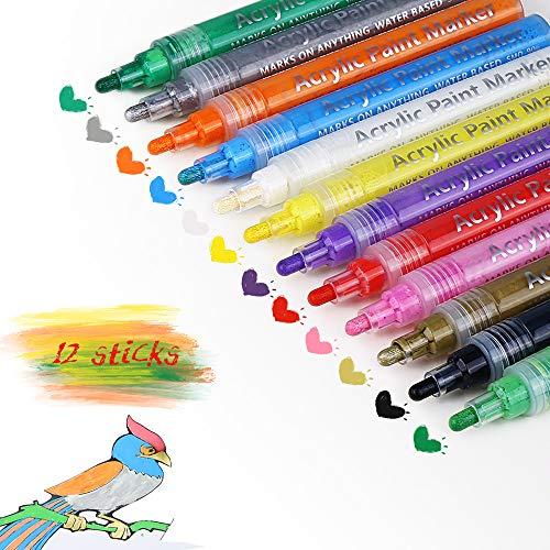 Zorara Acrylstifte Marker Stifte, 12 Farben Permanent Wasserfest Paint Marker Set Acrylic Painter Glasmalstifte Acrylfarben für DIY Stein, Leinwand, Papier, Glasmalerei, Metall, Keramik, Fotoalbum UVM -