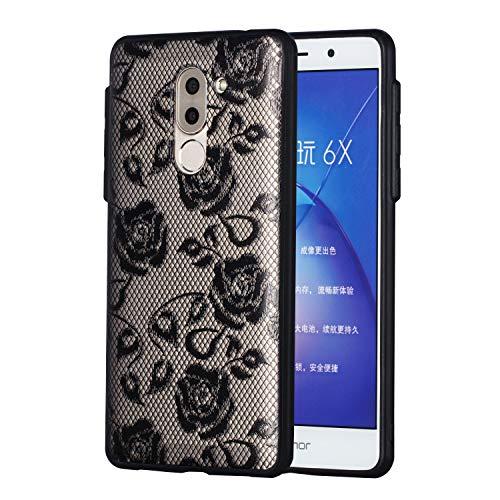 MAOOY Huawei Honor 6X Hülle, Huawei GR5 2017 Transparent Case, Luxus Linderung Schwarz Spitze Blume Handytasche mit Weich Silikon + Hart Plastik Zurück für Huawei Honor 6X, Schwarze Blumen