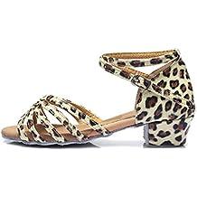 HROYL Niñas Zapatos de baile/Zapatillas de baile latino estándar de satín Salón de baile E-202
