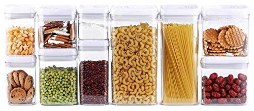 DRAGONN Juego de hermético recipiente de almacenamiento de alimentos juego, grandes tamaños incluido, mantiene la comida fresca y seca–plástico–sin BPA