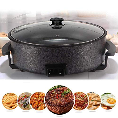 JN-STORE's Non Stick Electric Multi Cooker Pan Pizza Maker with Unbreakable Glass Lid and Non Stick Ceramic