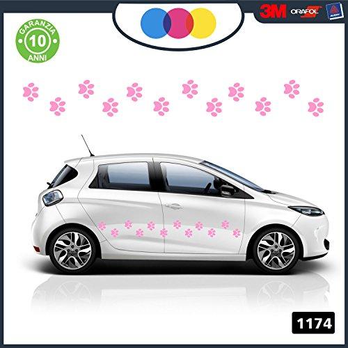 16 zampette Adesivi per auto - KIT di impronte zampe gatto rosa - rosa lucido misura 70x5cm (singola: 4x3,5 cm) - Materiale professionale facile da applicare e con durata garantita resistente al sole e ai lavaggi -