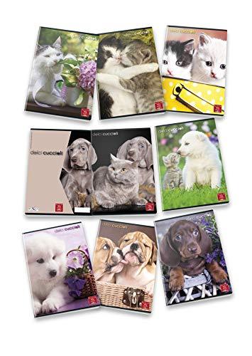 Pigna dolci cuccioli 02302920q, quaderno formato a4, rigatura 0q, quadretti 5 mm con margine per 2° e 3° elementare, carta 80g/mq, pacco da 10 pezzi