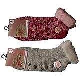 Lieblingsstrumpf24 2 Paar Damen Umschlag Teddy ABS Home Socken Noppensocken