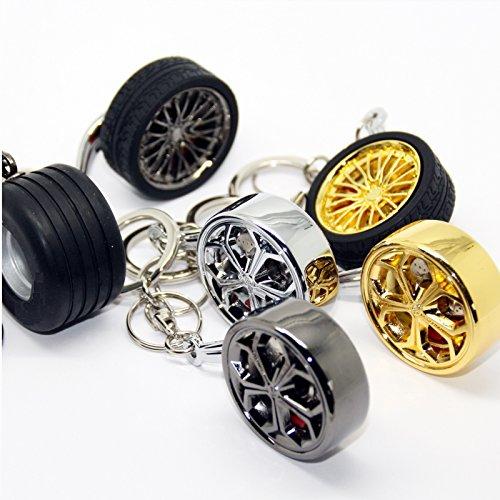 Luxus Schlüsselanhänger aus Metall - Felge Speiche Rad - Anhänger Schlüsselring Etui Chromfelge Schlüssel (Felge mit Reifen extra breit) - Und Anhänger-reifen Felge