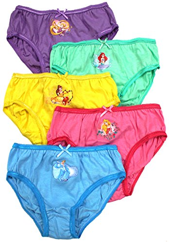 Girls Pack of 5 Disney Princess Aurora Ariel Bright Briefs Knickers Sizes from 2 to 7 Years
