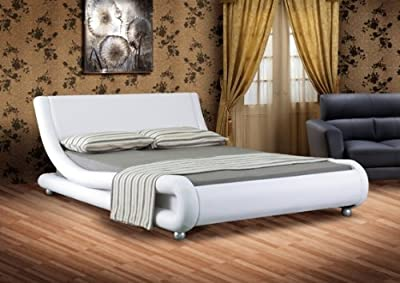 4ft6 Italian Designer Faux Leather Double Mallorca Bed Frame in WHITE produced by Comfy Living - quick delivery from UK.