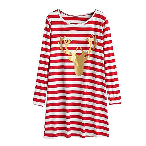 IZHH Damen Sweatshirt, Mode Streifen Kleid runder Kragen Weihnachten elch Langarm Casual Dress gestreiften elch Kleid Party Outdoor tägliche ()