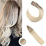 Ugeat 24' 50g Extension Capelli Veri Biadesivo 50g Extension Capelli Due Colori Remy Estensioni dei Capelli 60cm Extension Human Hair Ash Brown with Lightest Blonde 18/60#