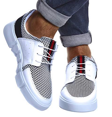 Leif Nelson Herren Schuhe für Freizeit Sport Freizeitschuhe | Männer weiße Sneaker Sommer Coole Elegante Sommerschuhe Sportschuhe | Weiße Schuhe für Jungen Winterschuhe Halbschuhe LN884; 43, Weiß (Schuhe Cool)