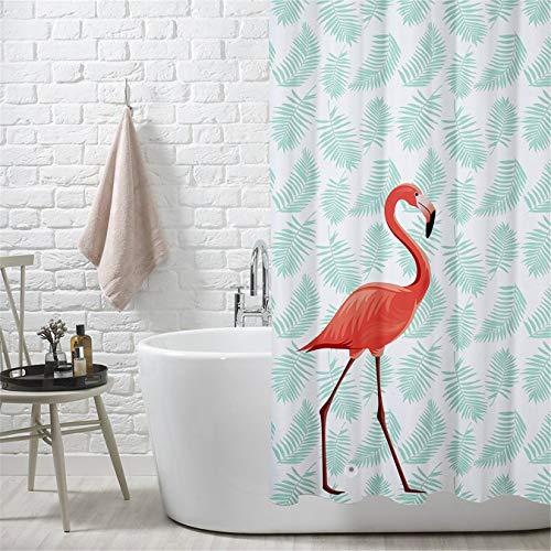 Duschvorhang Wasserdicht und Anti Schimmel Duschvorhänge Flamingo Digital Gedruckt Badvorhänge 180x200CM (Flamingo Duschvorhang)