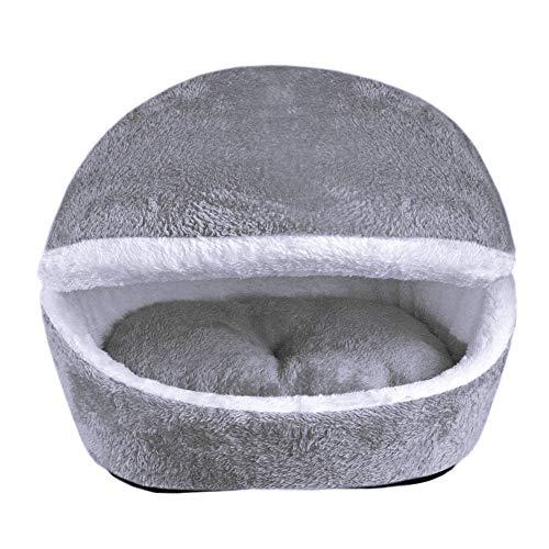 Zantec gatto o cane accessori, letto per gatti,cuccia/lettino per cane gatto,sacco a pelo invernale caldo amovibile comodo grigio