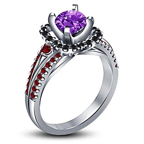 Vorra Fashion Multi pietra taglio brillante rotondo solitario con accenti Anello in argento Sterling 925, Argento, 9,5, colore: White, cod. NEW1728_14
