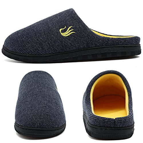 welltree Herren Haus Hausschuhe Zweifarbige Memory Foam Sohlen Warme w / Innen Im Freien Schuhe Navy/Yellow