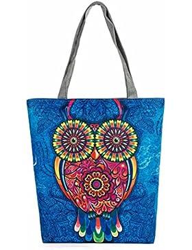 Saingace Eule druckte Segeltuch-Beutel-beiläufige Strand-Beutel-Frauen-Einkaufstasche-Handtaschen
