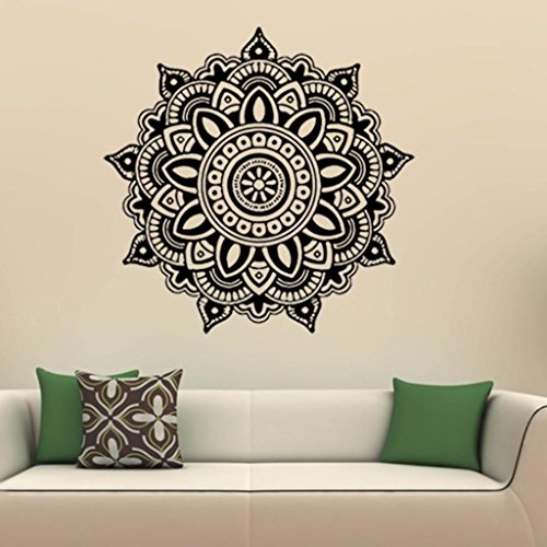large choix de couleurs et de dessins 60% pas cher dernière collection Beautyjourney Mandala Fleur Indian Chambre Wall Autocollant Art Stickers  Mural Maison Vinyle Famille Stickers Muraux Phrase Stickers Muraux Pat ...