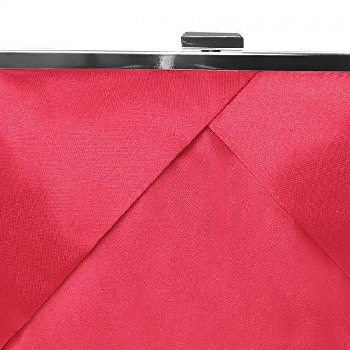 CASPAR klassische Damen Satin Clutch / Abendtasche in stylischem Design - viele Farben - TA320 Rot