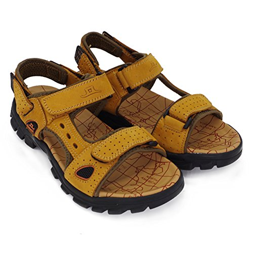 9e52ae7ec238 Sports Athletic Sandals Outdoor Summer Men Leather Hiking Beach Shoes  Breathable Exposed Toe Strap Walking Fisherman