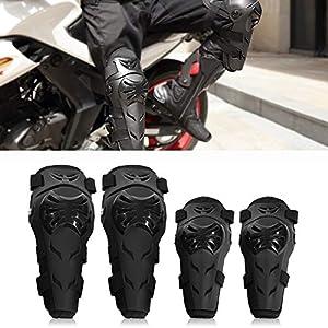 Rodilleras Moto Coderas para Hombre – 4 Piezas Motocross Rodilleras de protección Coderas Motocicleta Equipo de Protecciones para Moto K.T.M BMW, Enduro, Carreras, Ciclismo (Negro)