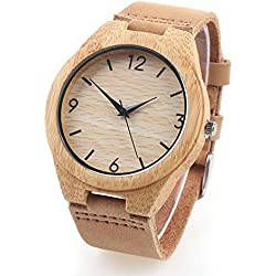 Wooden Bamboo Watch with Genuine Leather Strap Quartz Analog Digital Wrist Watch - Brown